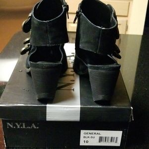 N.Y.L.A. Shoes - NYLA Black Suede Slingback